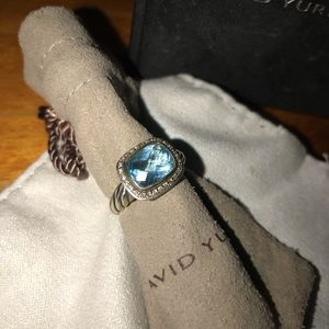David Yurman Blue Topaz & Diamond Ring